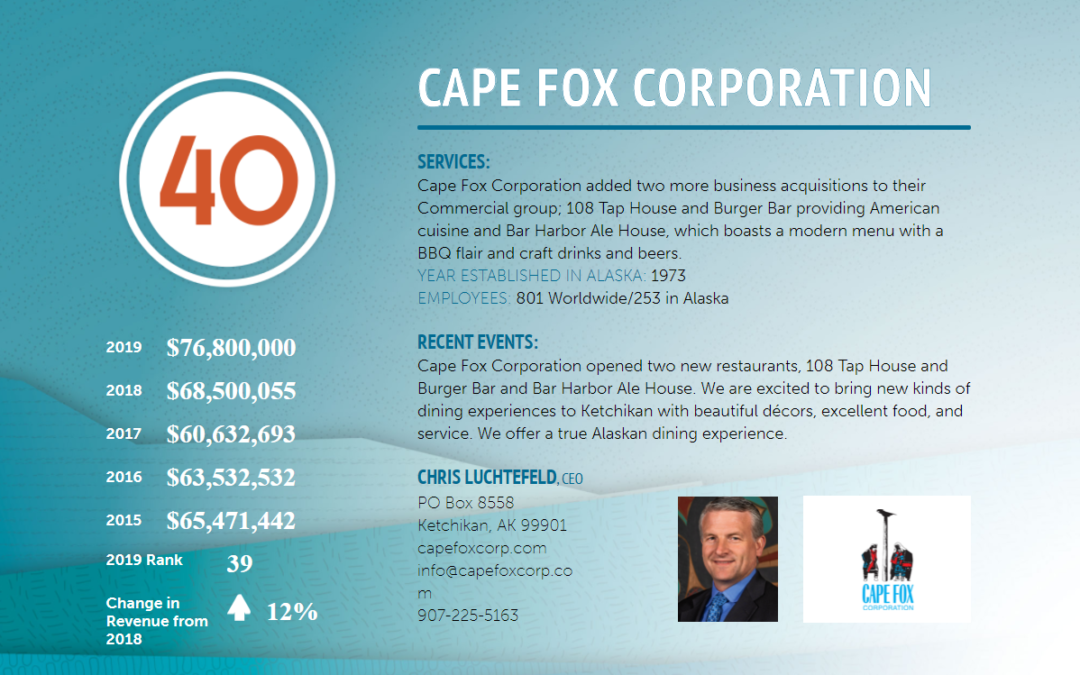 Cape Fox Corporation a Leader Among Alaska's Largest Businesses