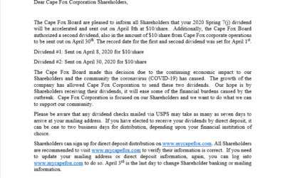 Cape Fox Board Passes 2020 Spring Dividend For Our Shareholders Early